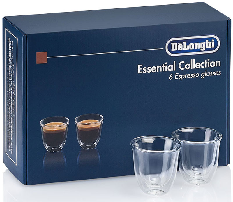 DeLonghi Espresso Glasses Set чашки, 6 шт115510DeLonghi Espresso Glasses Set - набор для эспрессо из 6 чашек. Благодаря данному набору использование вашей кофемашины будет приносить еще больше удовольствия.Двойные стенки из термо-стеклаСохранение температуры напиткаУдобно держатьМожно мыть в посудомоечной машинеБоросиликатное стеклоРучная работа