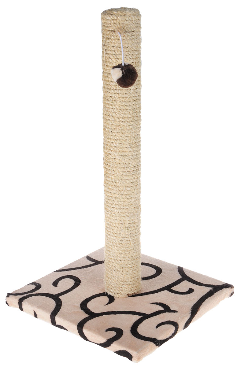 Когтеточка Грызлик Ам  Столбик , с игрушкой, цвет: бежевый, черный, 31 x 31 x 54 см - Когтеточки и игровые комплексы