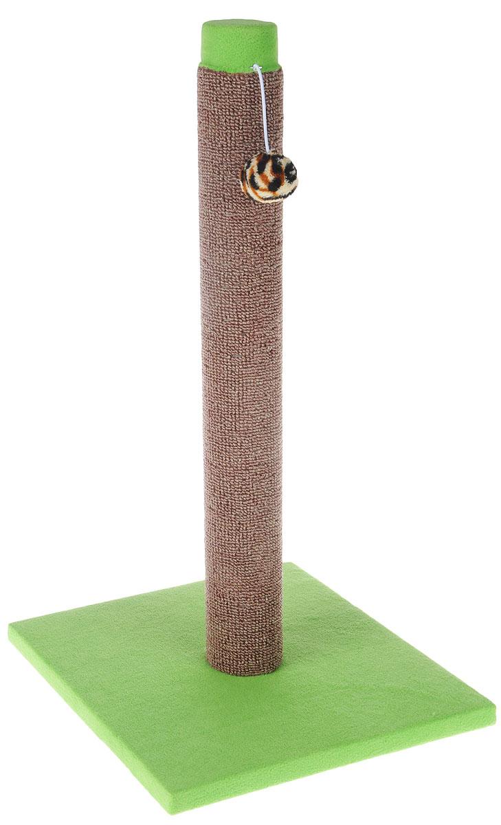 Когтеточка Грызлик Ам Столбик, ковролин, с игрушкой, цвет: зеленый, коричневый, 31 x 31 x 54 см40.GR.092Когтеточка Грызлик Ам Столбик выполнена из высококачественного ДСП и обтянута мягким плюшем. Изделие отлично подойдет для стачивания когтей вашей кошки и предотвращения их врастания. Столбик-когтеточка выполнен из ковролина. Этот материал обеспечит естественный уход за когтями питомца, поэтому теперь ваша мебель и стены будут в сохранности. Для игр предусмотрена игрушка-шарик на веревочке. В домике животное сможет спрятаться от посторонних глаз и отдохнуть.