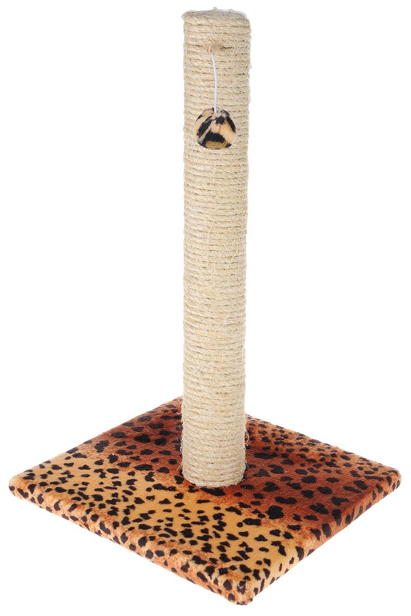 Когтеточка Грызлик Ам  Столбик , с игрушкой, цвет: коричневый, черный, бежевый, 31 x 31 x 54 см - Когтеточки и игровые комплексы