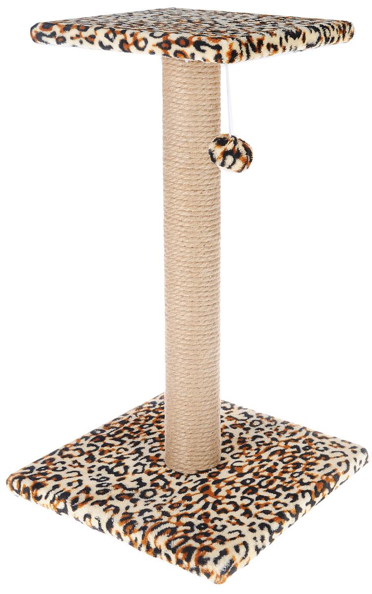Когтеточка Грызлик Ам Столбик с площадкой, с игрушкой, цвет: коричневый, черный, бежевый, 31 x 31 x 54 см0120710Когтеточка Грызлик Ам Столбик с площадкой выполнена из высококачественного ДСП и обтянута мягким плюшем. Изделие отлично подойдет для стачивания когтей вашей кошки и предотвращения их врастания. Столбик-когтеточка выполнен из джута. Этот материал обеспечит естественный уход за когтями питомца, поэтому теперь ваша мебель и стены будут в сохранности. Отдохнуть ваш питомец сможет на верхней полке. Сверху имеется подвесная мягкая игрушка.