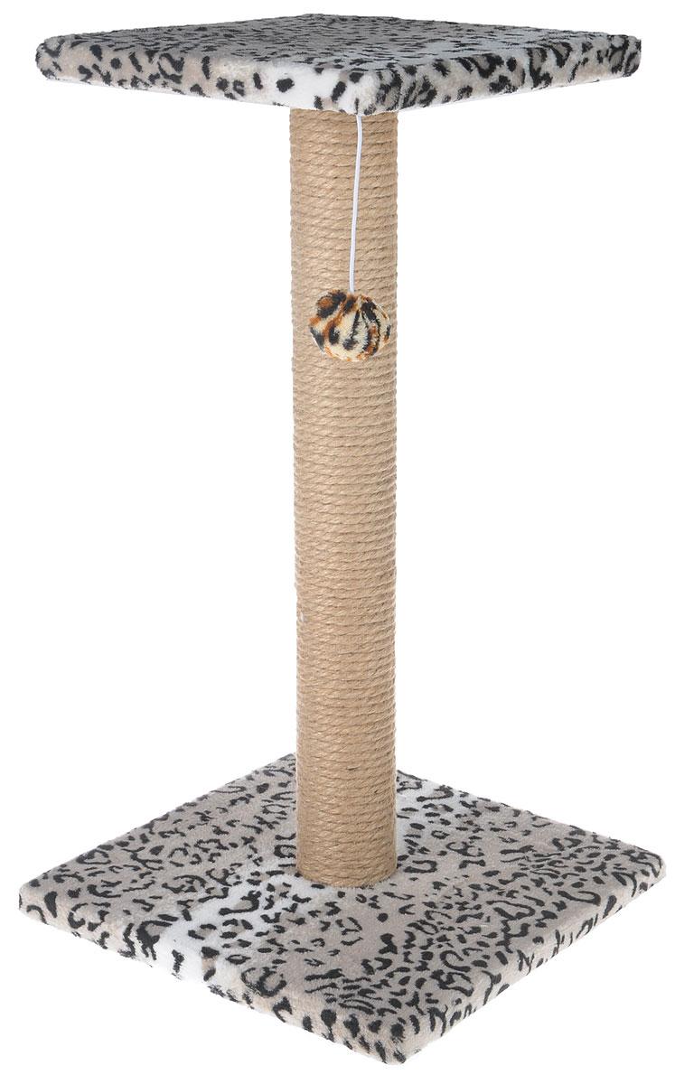 Когтеточка Грызлик Ам Столбик с площадкой, с игрушкой, цвет: серый, черный, белый, 31 x 31 x 54 см0120710Когтеточка Грызлик Ам Столбик с площадкой выполнена из высококачественного ДСП и обтянута мягким плюшем. Изделие отлично подойдет для стачивания когтей вашей кошки и предотвращения их врастания. Столбик-когтеточка выполнен из джута. Этот материал обеспечит естественный уход за когтями питомца, поэтому теперь ваша мебель и стены будут в сохранности. Отдохнуть ваш питомец сможет на верхней полке. Сверху имеется подвесная мягкая игрушка.