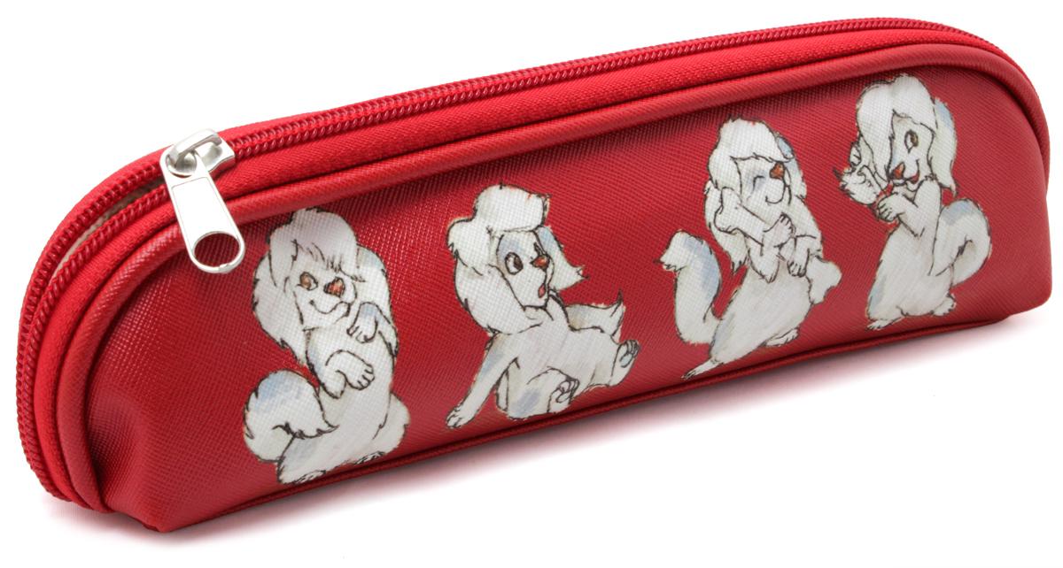 Феникс+ Пенал Собачка на красномDV-APC-4220/5Пенал школьный без наполнения для хранения и переноски пишущих принадлежностей.Размер: 20x4,5x5 см.Материал: кожзам.Застежка: молния.