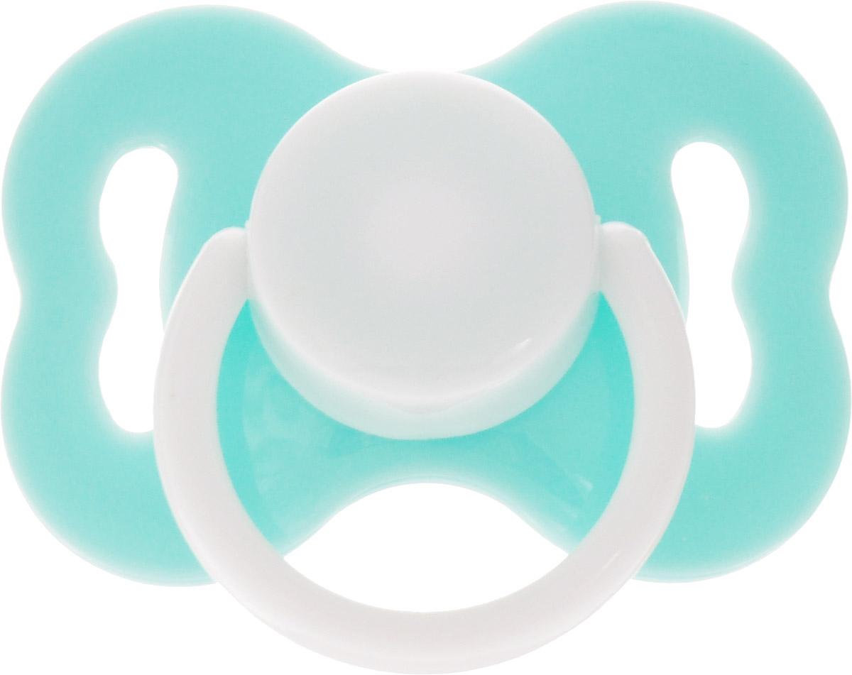 Lubby Пустышка силиконовая ортодонтическая Бабочка с колпачком от 0 месяцев цвет бирюзовый