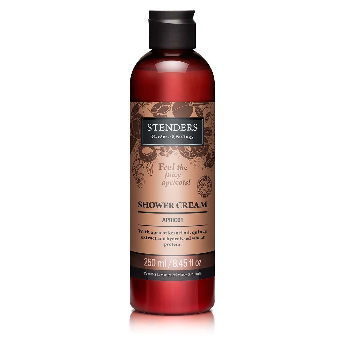 Stenders Крем для душа Абрикос, 250 млFS-00610Этот сочный ароматный крем для душа своей воздушной пеной изо дня в день будет бережно очищать кожу, даря вам ощущение свежести. Для создания ощущения мягкости и гладкости кожи состав крема обогащен маслом абрикосовых косточек, экстрактом цидонии и гидролизованным протеином пшеницы, а также обладает ароматом спелого абрикоса, который вдохновит и взбодрит.