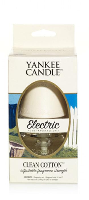 Электро-диффузор Yankee Candle Clean Cotton, 4-6 недель1315788EАромат высушенного на свежем воздухе хлопка, с лёгкими оттенками белых цветов и лимона. Верхняя нота: Озон, Зеленая листва, Бергамот. Средняя нота: Ландыш, Роза.Базовая нота: Ветивер, Кедр, Мускус, Древесные