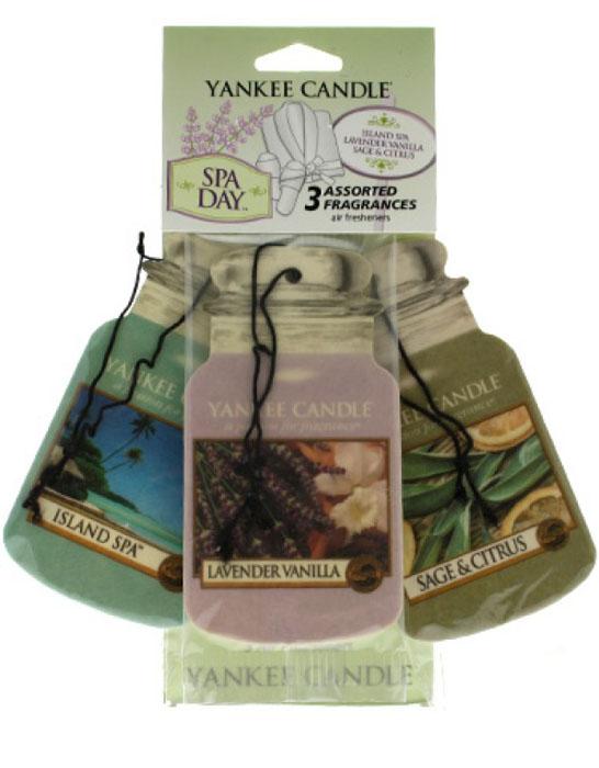 Авто-ароматизатор Yankee Candle День спа, сухой, 3 шт2019710Упаковка содержит 3 аромата ( Спа на острове , Лаванда и ваниль , Шалфей и цитрус ). Ароматизатор от самого известного производителя ароматов для дома в мире , Yankee Candle , прекрасно ароматизирует маленькие пространства, при этом не обладая навязчивым запахом, от которого нужно будет проветривать ваш автомобиль . Срок службы каждого ароматизатора до 30 дней.