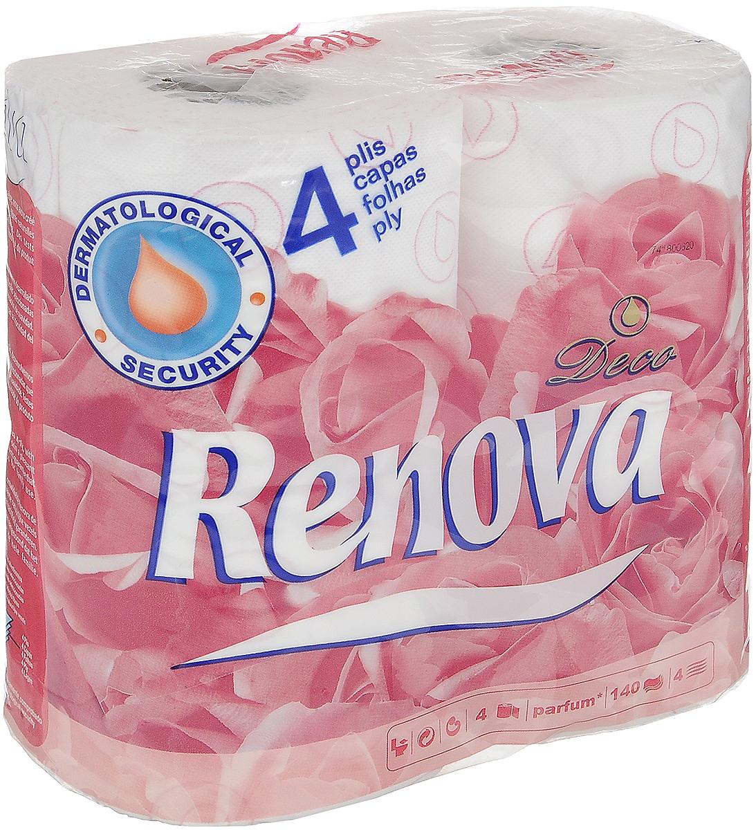 Туалетная бумага Renova Deco, четырехслойная, ароматизированная, цвет: белый, 4 рулона5601028013192_новинка, 4 рулонаТуалетная бумага Renova Deco изготовлена по новейшей технологии из 100% ароматизированной целлюлозы, благодаря чему она имеет тонкий аромат, очень мягкая, нежная, но в тоже время прочная. Туалетная бумага Renova Deco объединяет удовольствие чувств и комфорт совершенной гигиены. Состав: 100% ароматизированная целлюлоза. Количество слоев: 4.Количество рулонов: 4 шт.Португальская компания Renova является ведущим разработчиком новейших технологий производства, нового стиля и направления на рынке гигиенической продукции. Современный дизайн и высочайшее качество, дерматологический контроль - это то, что выделяет компанию Renova среди других производителей бумажной санитарно-гигиенической продукции.
