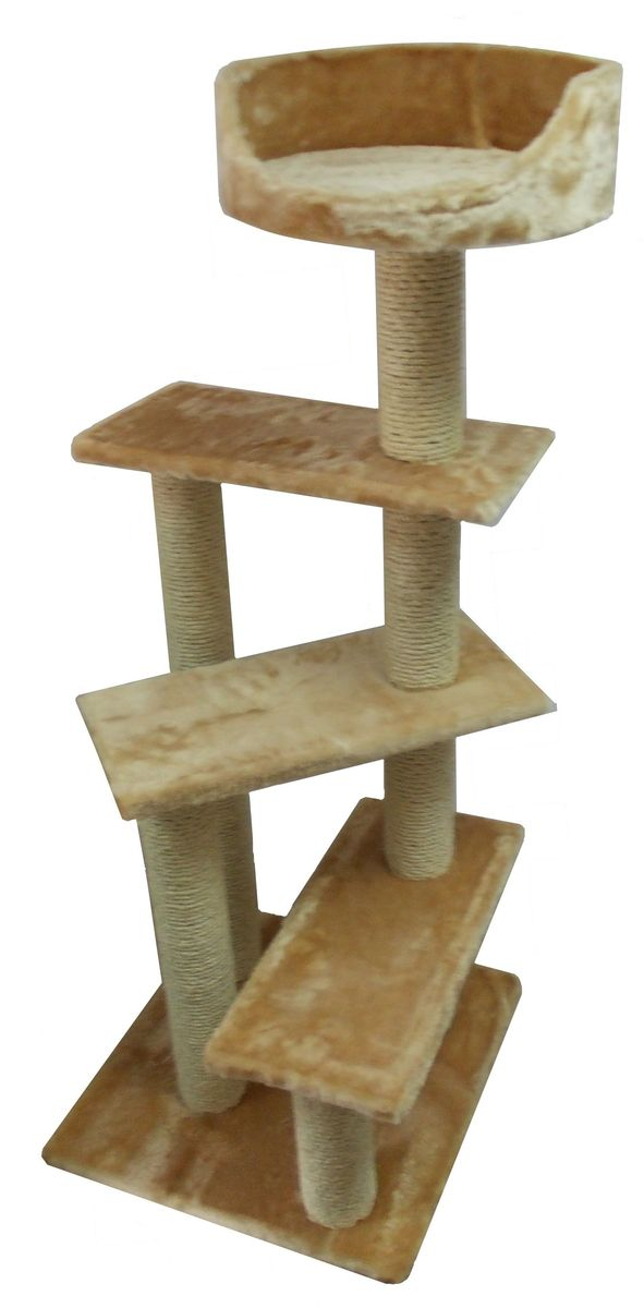 Когтеточка Пушок  Винтовая лестница , цвет: бежевый, 57 х 57 х 145 см - Когтеточки и игровые комплексы