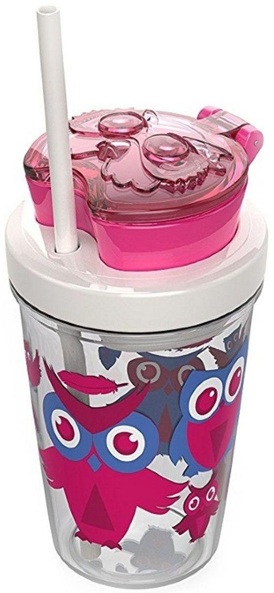 Детский стакан для воды Contigo Snack Tumbler, с трубочкой, 350 мл, цвет: розовый. contigo0626contigo0626
