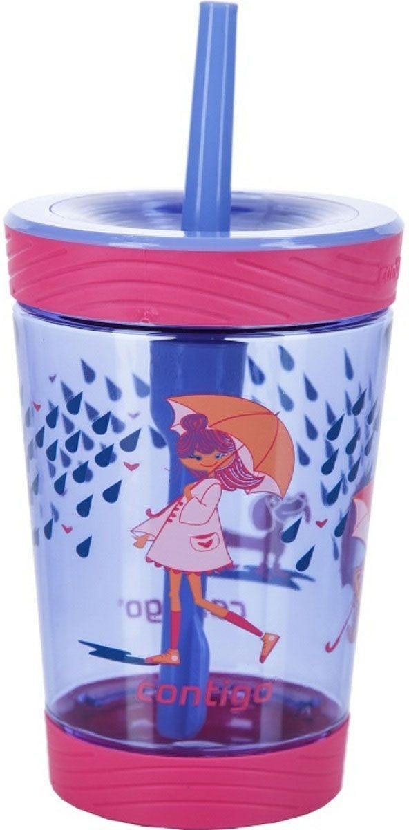Детский стакан для воды Contigo Spill Proof Tumbler, с трубочкой, 420 мл, цвет: розовый. contigo0771contigo0771