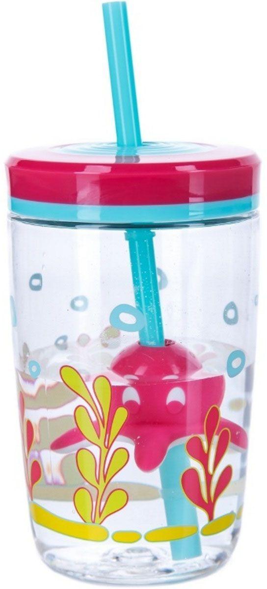 Детский стакан для воды Contigo Floating Straw Tumbler, с трубочкой, 470 мл, цвет: розовый. contigo0773contigo0773
