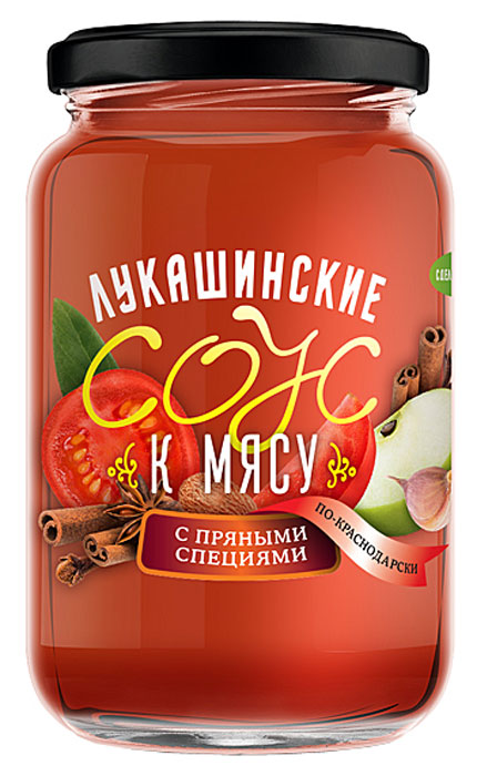 Лукашинские соус к мясу по-краснодарски с пряными специями, 365 г215213Соус к мясу по-краснодарски с пряными специями.