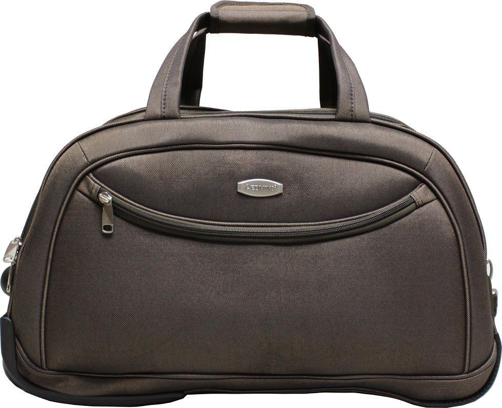 Сумка дорожная на колесах Edmins, цвет: коричневый, 53 л. 213 НТВ 220*10213 НТВ 220*10Сумка выполнена из легкой, очень прочной ткани, которая великолепно сохраняет форму и проста в уходе. Удобство сумки-тележки обеспечивает выдвижная телескопическая ручка; имеются две ручки-переноски и широкий плечевой ремень. Два колеса, интегрированные в корпус, обеспечивают мобильность. Данная модель удобна и практична для любой поездки. На внешней стороне находится вместительный карман на молнии, который позволяет все самое необходимое хранить под рукой. Максимальная нагрузка 10кг. Вес 2,7кг. Объем 53 л. Внешние размеры: 55 х 30 х 35 см. Гарантия 2 года.