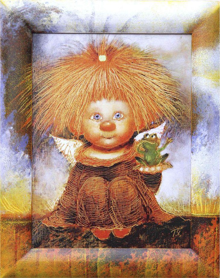Жикле на холсте Artangels Ангел с лягушонком в расписном багете, 30 х 40 см. Автор Галина Чувиляева. 60726072Жикле размером 30 х 40 см в деревянном расписном багете Ангел с лягушонком.Авторское жикле в расписанной вручную раме. Современный мир насчитывает огромное количество изображений искусства, каждое из которых создается по своей технике. Например, жикле – это художественная печать на холсте и бумаге. Это современный вид искусства, который включает в себя использование разнообразных принтеров для репродукции картин в самом высочайшем качестве. К преимуществам использования данного вида искусства относят следующие показатели – долговечность полученного изображения, высочайшее качество отображения. Жикле – это французское слово, которое как раз и означает распыление, чтобы создать высококачественный шедевр, необходимо задействовать специальные принтеры. А в качестве материалов, которые необходимы для печати, используют специализированные холсты на основе хлопка или льна, помимо этого задействуются следующие материалы – высококачественные составы красок, акварельная бумага и другие характерные для этого вида искусства специализированные материалы. Безусловно, сейчас существует большое количество других способов цветопередачи, однако именно жикле обеспечивает максимальное качество, долговечность.