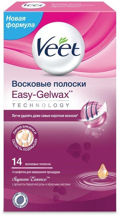 Veet Восковые полоски для чувствительных участков тела (бикини) с ароматом бархатной розы и эфирными маслами Easy Gel-Wax, 14 шт