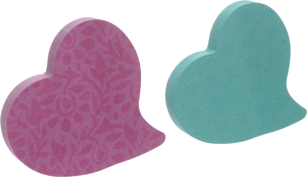 Post-it Бумага для заметок Сердце с липким слоем цвет зеленый фиолетовый 150 листов -