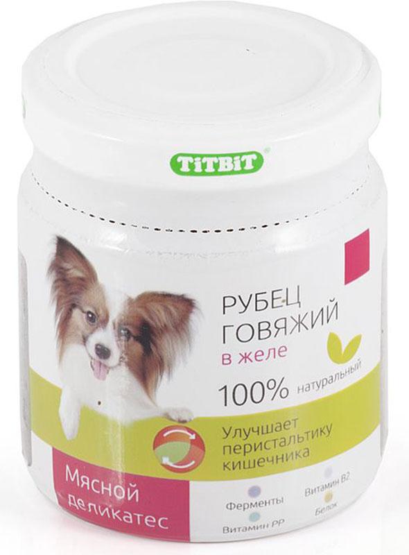 Консервы Titbit для собак, рубец говяжий в желе, 100 г003633Консервы мясные для собак Titbit Рубец говяжий в желе способствуют улучшению пищеварения. Регулярное поедание рубца насыщает организм ферментами, макро- и микроэлементами.Состав: рубец говяжий, вода, желеобразователь, сладкий перец, лук, морковь, морская капуста.