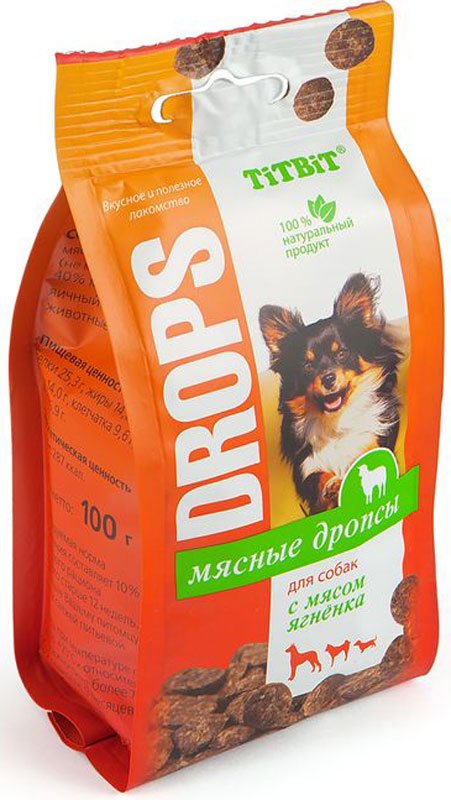Лакомство Titbit Дропсы, для собак, с мясом ягненка, 100 г007808Мясные дропсы для собак Titbit изготовлены из натуральных ингредиентов без консервантов, ароматизаторов и искусственных красителей. Ингредиенты в составе богаты витаминами, минералами, микроэлементами, жирами и легкоусвояемыми протеинами. Дропсы идеально подойдут для дрессуры или вознаграждения вашего питомца.Состав: мясо и мясные субпродукты (не менее 60%, из которых 40% мясо ягненка), кукуруза, яичный порошок, морковь, животные жиры, альбумин.