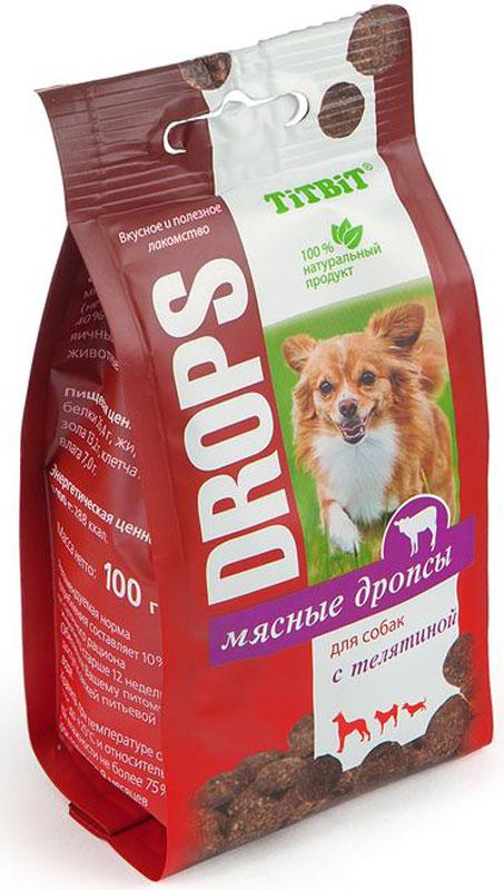 Лакомство Titbit Дропсы, для собак, с телятиной, 100 г007815Мясные дропсы для собак Titbit изготовлены из натуральных ингредиентов без консервантов, ароматизаторов и искусственных красителей. Ингредиенты в составе богаты витаминами, минералами, микроэлементами, жирами и легкоусвояемыми протеинами. Дропсы идеально подойдут для дрессуры или вознаграждения вашего питомца.Состав: мясо и мясные субпродукты (не менее 60%, из которых 40% телятина), кукуруза, яичный порошок, морковь, животные жиры, альбумин.