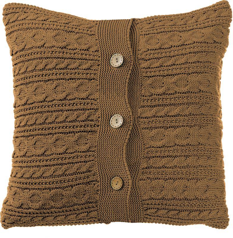 Наволочка декоративная Altali Шоколад, 43 х 43 см3121039670Вязаная подушка в доме - признак уюта и стиля. В отличие от тканевой подушки вязаные изделия более эластичные и структурные. Рисунок вязки гармонично впишется в любой интерьер. Чехол съемный, на пуговицах. Его можно стирать в деликатном режиме, сушить на горизонтальной поверхности.