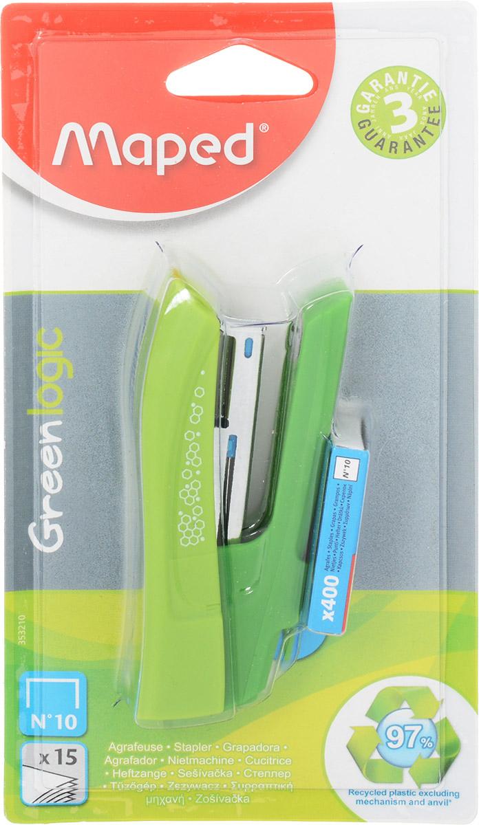 Maped Степлер Greenlogic цвет салатовый №105665blueСтеплер Maped Greenlogic рассчитан на 15 листов. Скобы №10. Оснащен встроенным антистеплером.В комплект входят 400 скоб.
