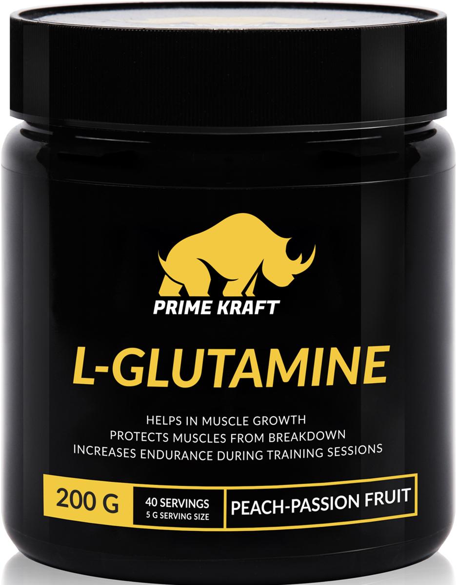 Напиток сухой Prime Kraft L-Glutamine, коктейль фруктово-ягодный, персик, маракуйя, 200 гSF 0085Продукт Prime Kraft L-Glutamine относится к типу условно незаменимых аминокислот, то есть не воспроизводится организмом, а попадает с белковой пищей. Глютамин - это важнейший компонент рациона людей, имеющих интенсивные физические нагрузки, благодаря которому происходит насыщение мышечных клеток водой и стимулируется производство гормона роста. Помимо этого, Глютамин препятствует разрушению мышечного белка, способствует эффективному синтезу протеина и задержке азота, восполняет уровень энергии, защищает от токсичного воздействия ткани головного мозга, снижает действие гормонов глюкагона и кортизона, а также улучшает настроение и оказывает благоприятное воздействие на иммунную систему.