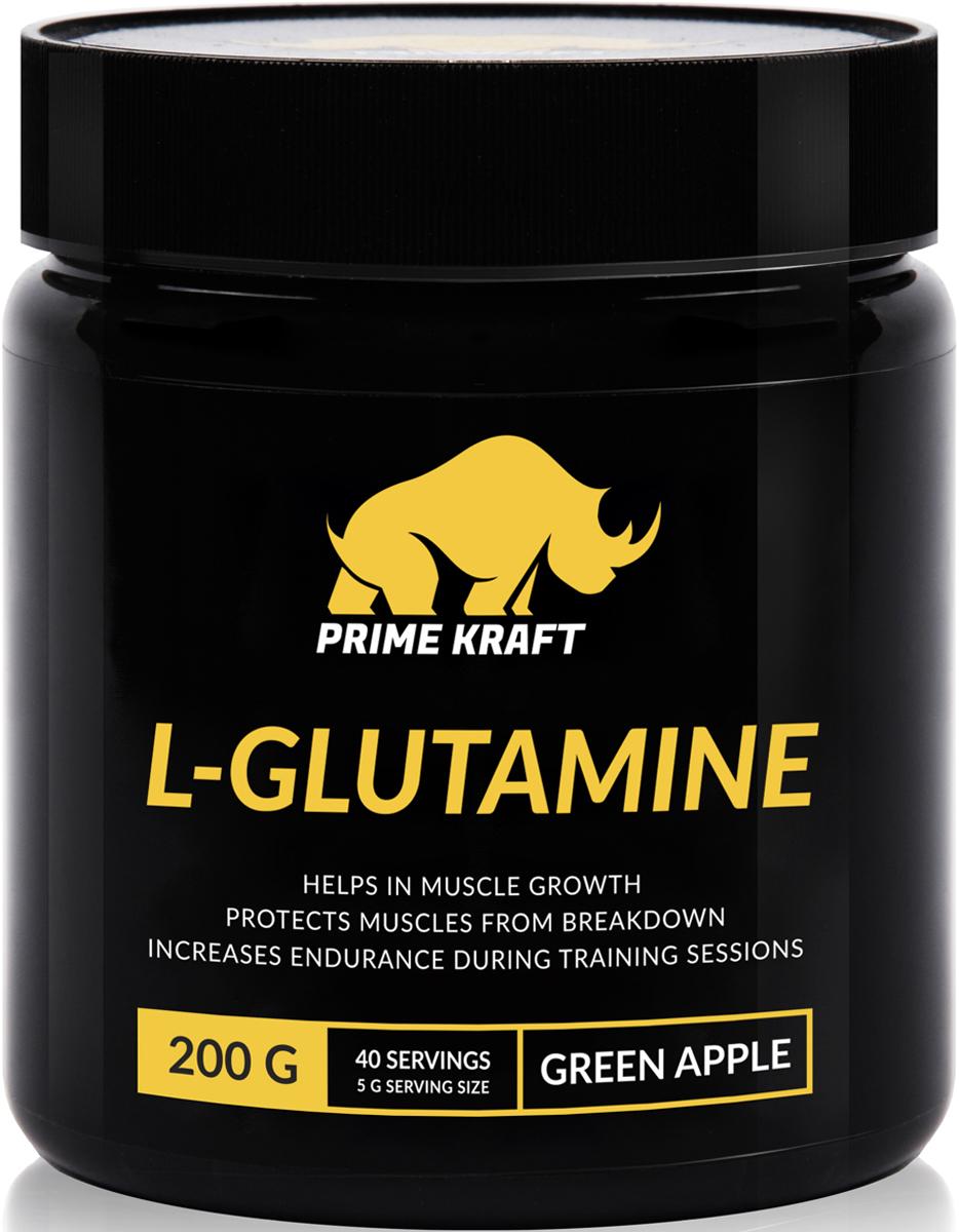 Напиток сухой Prime Kraft L-Glutamine, коктейль фруктово-ягодный, зеленое яблоко, 200 гRUC-01Продукт Prime Kraft L-Glutamine относится к типу условно незаменимых аминокислот, то есть не воспроизводится организмом, а попадает с белковой пищей. Глютамин - это важнейший компонент рациона людей, имеющих интенсивные физические нагрузки, благодаря которому происходит насыщение мышечных клеток водой и стимулируется производство гормона роста. Помимо этого, Глютамин препятствует разрушению мышечного белка, способствует эффективному синтезу протеина и задержке азота, восполняет уровень энергии, защищает от токсичного воздействия ткани головного мозга, снижает действие гормонов глюкагона и кортизона, а также улучшает настроение и оказывает благоприятное воздействие на иммунную систему.