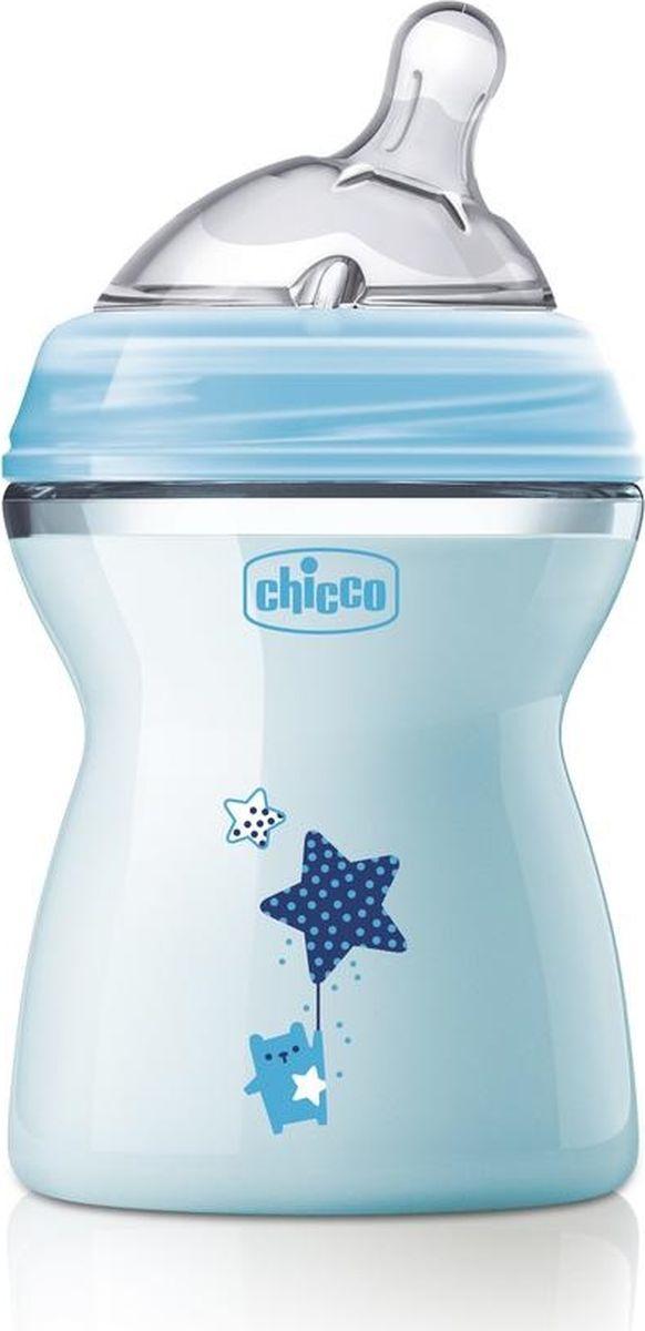 Chicco Бутылочка для кормления с силиконовой соской Natural Feeling от 2 месяцев 250 мл цвет голубой