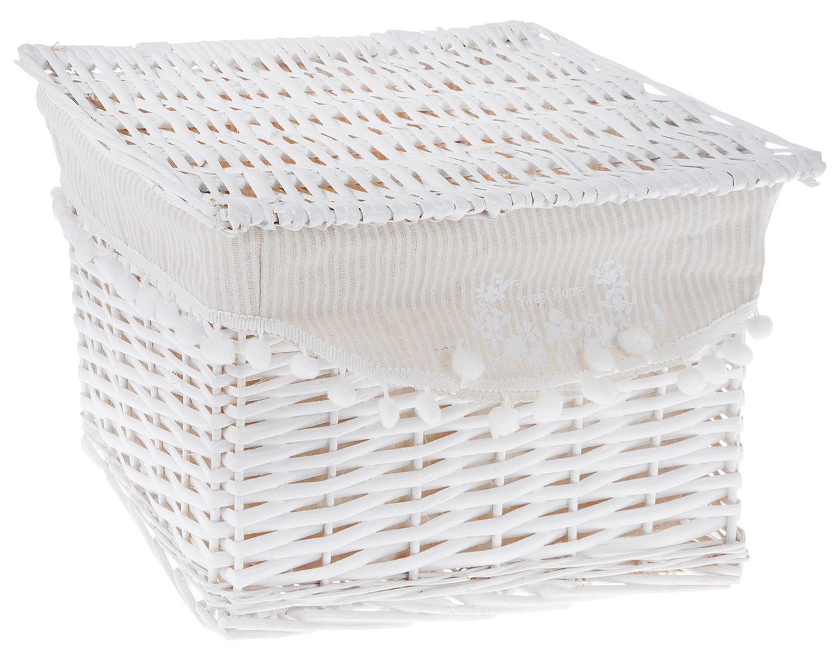 Корзина для белья Natural House Колокольчик, прямоугольная, цвет: белый, 36 х 26 х 25 смБрелок для ключейБельевая корзина Natural House Колокольчик, выполненная из лозы ивы, не только удобна и практична, но и прекрасно выглядит. Высокое качество и натуральные материалы гармонично сочетаются и создают в доме уют и теплое настроение. В комплект с входит чехол, который легко снимается и стирается.