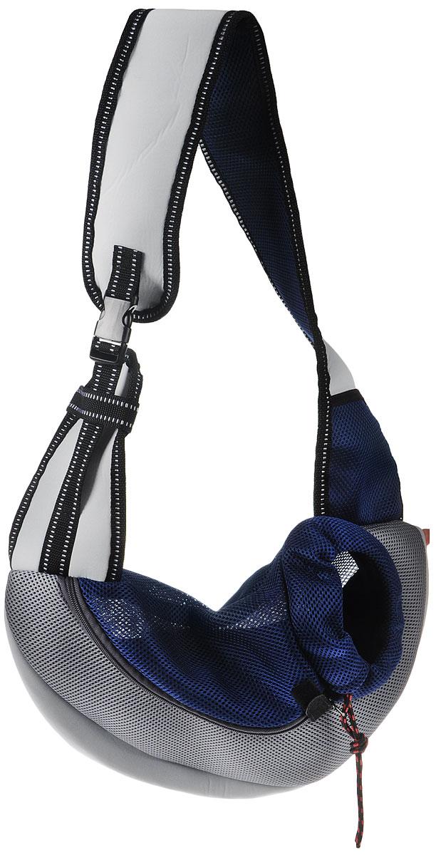 Сумка-переноска для животных Каскад Слинг, через плечо, цвет: серый, темно-синий, 35 х 25 х 13 см сумка переноска каскад collection с белыми буквами цвет черный 38х17 см