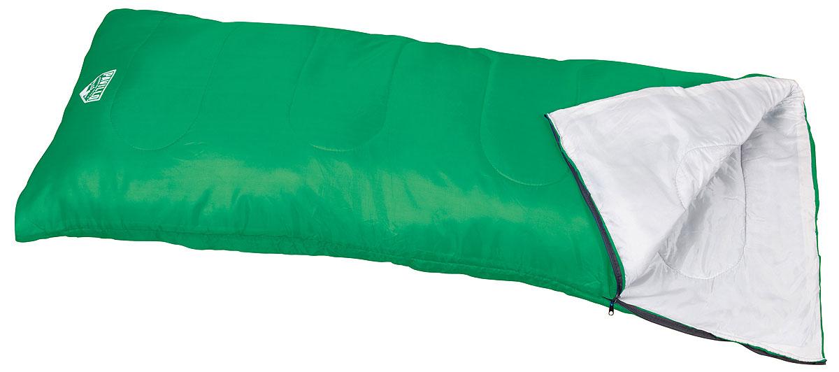 Bestway Спальный мешок Evade 200, цвет: зеленый68053_GТрехсезонный спальник-одеяло Bestway Evade 200, выполненный из полиэстера с наполнителем из холлофайбера, предназначен для походов и для отдыха на природе не только в летнее время. В теплое время спальный мешок можно использовать как одеяло (в том числе и дома). Спальник-одеяло Bestway Evade 200 станет незаменимым аксессуаром для любителей туризма, рыболовов и охотников.Одеяло упаковано в удобный мешок.