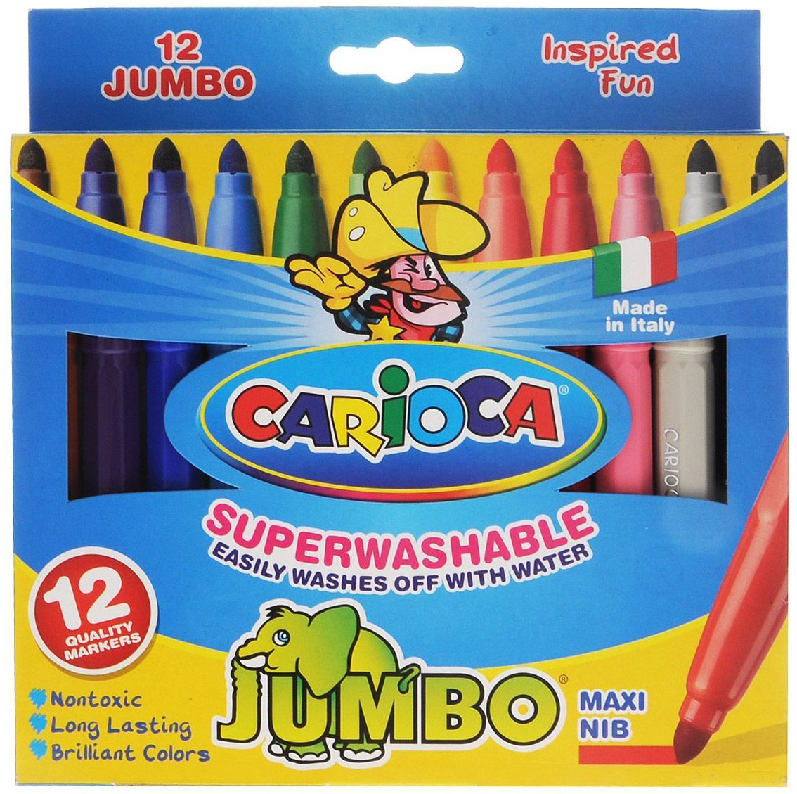 Набор фломастеров Carioca Jumbo, 12 цветов42816Фломастеры Carioca Jumbo, непременно, понравятся вашему юному художнику.Набор включает в себя 6 ярких цветных фломастеров в удобном утолщенном корпусе с чернилами на водной основе и безопасными вентилируемыми колпачками. Такие фломастеры идеально подходят для малышей.Порадуйте своего ребенка таким замечательным подарком! Характеристики:Длина фломастера: 14 см.Диаметр фломастера: 1,2 см.Диаметр наконечника: 0,4 см. Размер упаковки: 17,5 см х 15 см х 1,5 см.Уважаемые клиенты! Обращаем ваше внимание на то, что упаковка может иметь несколько видов дизайна. Поставка осуществляется в зависимости от наличия на складе.