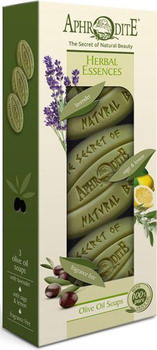 Aphrodite Набор мыла оливкового Ароматные травы: с лавандой, с шалфеем и лимоном, оригинальное без отдушек, 3 х 255 г8809469772891Набор оливкового мыла Ароматные травы на основе критского оливкового масла и растительных экстрактов – подарок для тех, кто ценит чистоту и натуральность в косметических средствах.Оливковое мыло с лимоном и шалфеем при ежедневном использовании смягчает, уменьшает поры и нормализует жирность кожи. Тонкий цитрусовый аромат в тандеме с шалфеем повышает тонус.Оливковое мыло с лавандой отлично очищает кожу, снимает напряжение и обладает противовоспалительными свойствами.Натуральное оливковое мыло без отдушек прекрасно подходит для чувствительной и проблемной кожи. Оно оказывает антибактериальное и восстанавливающее действие.Оливковая косметика Aphrodite содержит только натуральные ингредиенты.