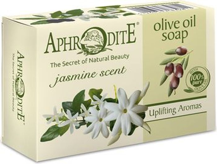 Aphrodite Мыло оливковое с ароматом жасмина, 100 гD-18Оливковое мыло с лёгким цветочным ароматом жасмина. Эффективно питает и увлажняет кожу, способствует выравниванию ее поверхности и омоложению. Устраняет ощущение стянутости, придает коже удивительную нежность и эластичность. Известно, что жасмин является природным афродизиаком и благотворно влияет на эмоциональную сферу, обладает антистрессовым и релаксирующим действием.100% натуральный продукт. Не содержит консервантов, животных жиров и искусственных красителей.