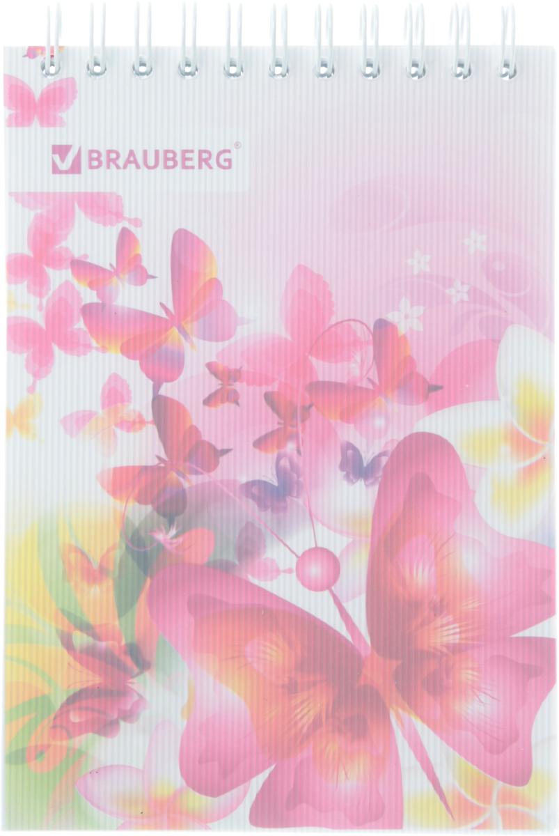 Brauberg Блокнот Чувство Бабочки 80 листов в клетку430906Стильный блокнот Brauberg для записей и заметок с женственным дизайном. Пластиковая обложка долго сохраняет привлекательный внешний вид и защищает яркий рисунок.Внутренний блок состоит из высококачественного офсета в клетку. Листы блокнота соединены металлическим гребнем.