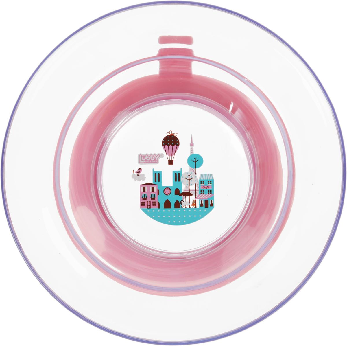 Lubby Тарелка для кормления Любимая с присоской цвет розовый115510Тарелка «Любимая» для кормления незаменима в период, когда Ваш малыш учится есть самостоятельно. Присоска препятствует свободному перемещению тарелки по столу. А яркий дизайн превращает процесс кормления в увлекательную игру. Благодаря высоким бортикам тарелки, пища будет дольше оставаться теплой.