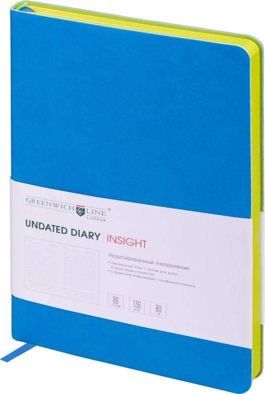 Greenwich Line Ежедневник Insight недатированный 136 листов цвет синий формат B6ENB6CR-11197Стильный ежедневник с ярким цветным контрастным срезом и ультра-мягкой обложкой из 2 слоев высококачественного кожзаменителя. Цвет обложки - синий, цвет среза - салатовый. Внутренний блок из 136 листов высокачественной тонированной офсетной бумаги повышенной плотности 80 г/м2, пантонная печать в 2 краски. Прошитый блок. Закладка-ляссе в цвет обложки. Индивидуальная упаковка. Подходит под персонализацию.