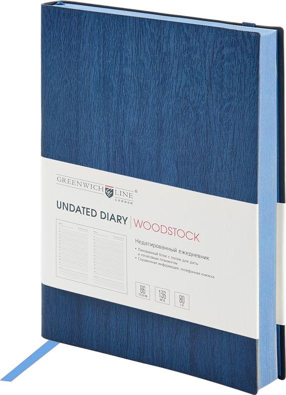 Greenwich Line Ежедневник Woodstock недатированный 136 листов цвет темно-синий формат B6730396Стильный ежедневник Woodstock с мягкой обложкой из высококачественного кожзаменителя с фактурой дерева и вертикальной фиксирующей резинкой. Цветной срез блока повторяет рисунок материала обложки. Цвет обложки - темно-синий. Внутренний блок из 136 листов высокачественной тонированной офсетной бумаги повышенной плотности 80 г/м2, пантонная печать в 2 краски. Прошитый блок. Закладка-ляссе в цвет обложки. Индивидуальная упаковка. Подходит под персонализацию.