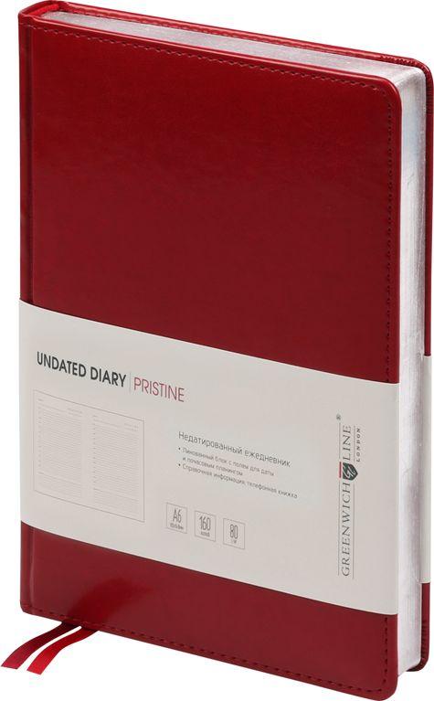 Greenwich Line Ежедневник Pristine недатированный 160 листов цвет красный формат A6 -  Ежедневники, блокноты, записные книжки