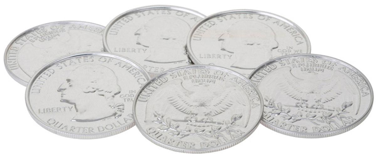 Подставка под стаканы Balvi Coin$, цвет: серый металлик, 6 шт24583Подставка Coin$ - незаменимый аксессуар в любом доме, который послужит оригинальным решением против разводов на поверхности стола после чашек и стаканов. Подставки представляют собой металлические изделия в виде американских монет. В наборе шесть подставок, которые защитят поверхность стола от пролитой жидкости. Этот набор из уникальных подставок станет отличным подарком для всех, кто любит оригинальные и функциональные вещи.- Изготовлены из металла и пробкового материала.- Уникальный дизайн в виде американских монет.- В наборе 6 подставок.