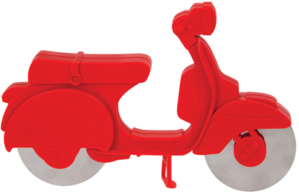 Нож для пиццы Balvi Scooter, цвет: красный24617Необычный нож-скутер Balvi - яркий и полезный аксессуар, который пригодится для быстрого разделения горячей пиццы на равные кусочки. Нож оснащен сразу двумя лезвиями из нержавеющей стали, которые замаскированы под колеса скутера. Сама же пластиковая основа в виде яркого скутера служит рукояткой ножа и предотвратит от случайных порезов. Необычный и яркий дизайн ножа в виде скутера, безусловно, добавит итальянского колорита при подаче вкусной и аппетитной пиццы на стол. Наслаждайтесь своим любимым лакомством, не опасаясь порезов и нарушения структуры вкусной пиццы. - Необычный дизайн ножа для пиццы в виде скутера.- Благодаря двум лезвиям пицца идеально разделится на кусочки.