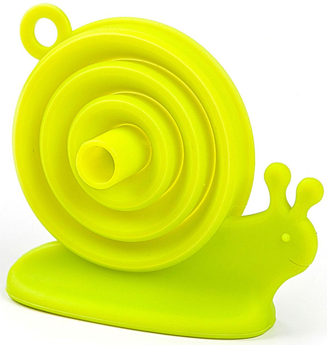 Воронка для пищевых продуктов Balvi Escargot, цвет: зеленый25168Благодаря воронке для бутылок Escargort вы забудете о пролитой на пол жидкости и без проблем сможете переливать даже кипяток. Яркий и позитивный дизайн силиконовой воронки Escargort в виде улитки поднимет настроение и вызовет улыбку. Основной плюс - аксессуар не займет много места на кухне, ведь после использования его можно сложить и спрятать в шкафчик.- Яркий и позитивный дизайн- Изготовлена из пищевого силикона- В сложенном виде аксессуар не займет много места на кухне.