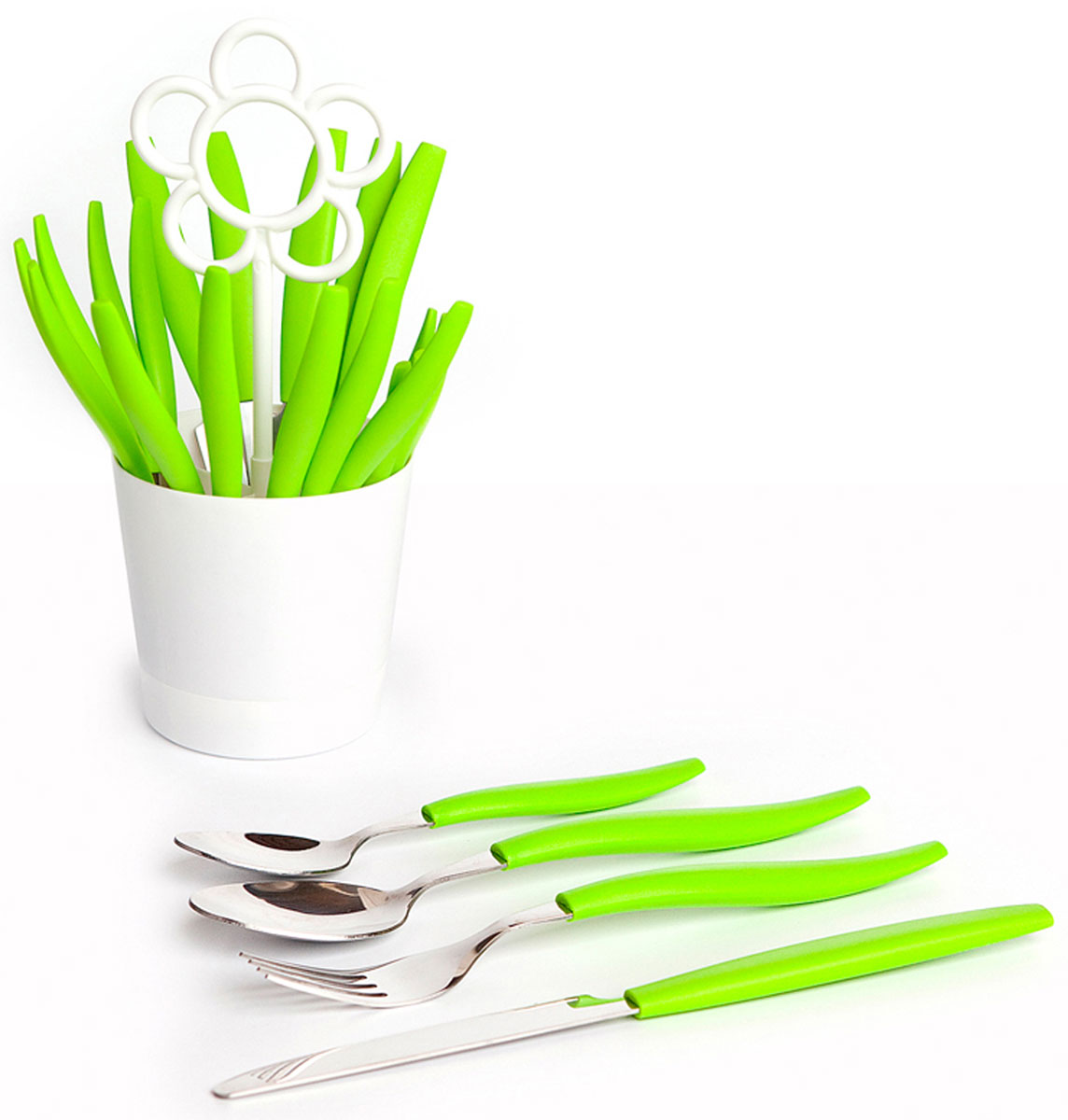 Набор столовых приборов Balvi Blossom, на подставке, цвет: зеленый, 25 предметов115510Хотите удивить своих знакомых и родных ярким и полезным подарком? Тогда советуем обратить ваше внимание на набор столовых приборов Blossom, который изготовлен из сверхпрочной нержавеющей стали. В наборе вы найдете 24 прибора - по 6 вилок, ножей, маленьких и больших ложек. Также в комплекте с приборами идет креативная подставка, выполненная в форме цветочного горшочка, украшенного белой ромашкой из пластика. Набор создаст весеннее и солнечное настроение в каждой кухне, даже если за окном дождливая осень. Плюс ко всему, низкая цена на полный комплект столовых приборов Blossom на 6 персон приятно вас удивит.-Яркий весенний дизайн приборов и подставки-Высококачественная нержавеющая сталь и прочный пищевой пластик-Полный набор столовых приборов на 6 персон по привлекательной цене