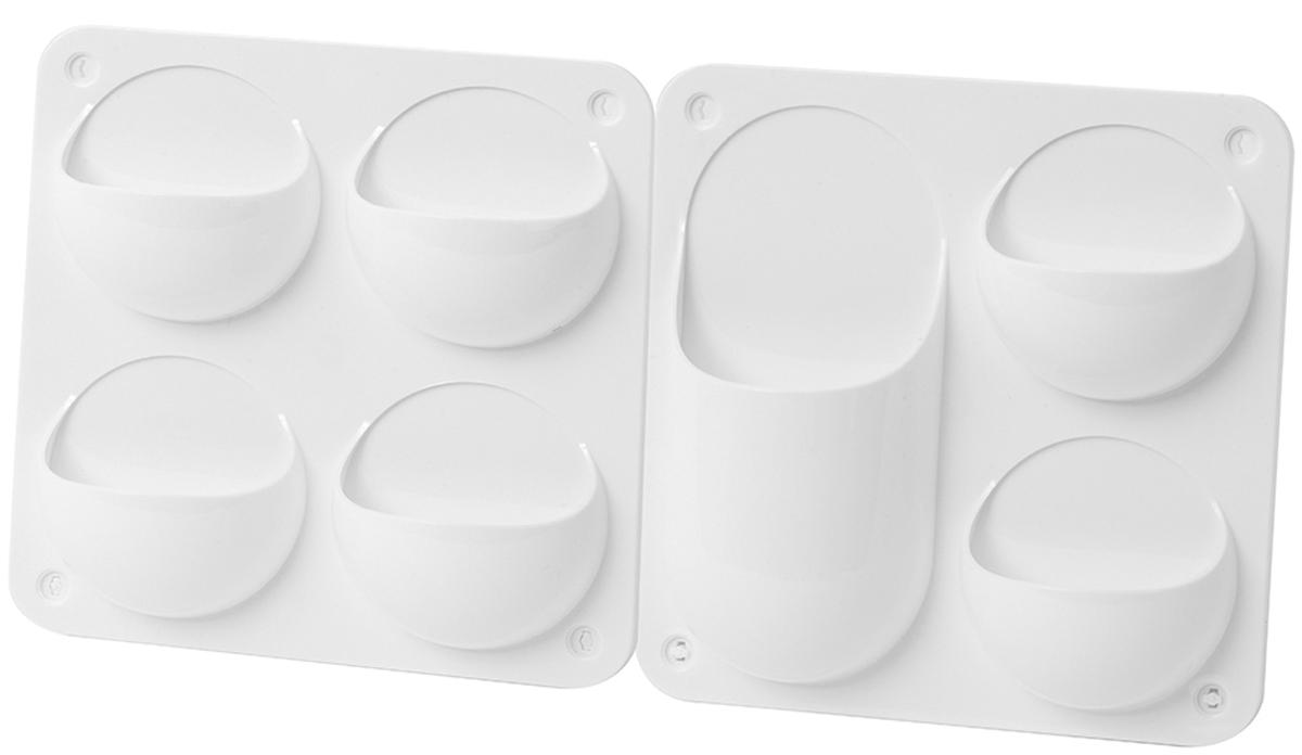 Органайзер Balvi Lab, цвет: белый, 2 шт68/5/4Если вы во всем цените порядок и любите, чтобы вещи лежали на своих местах, то вам просто необходим органайзер Lab. В кармашки органайзера поместятся все предметы, нужные вам в ванной. Они изготовлены из качественного пластика, поэтому не испортятся от постоянной влажности. Белый цвет гарантирует совместимость с любым цветовым решением вашей ванной. Этот органайзер можно поставить на ровную горизонтальную поверхность или повесить на стену. Для подвешивания в органайзере имеется 4 отверстия по периметру. - В комплект входит: 2 органайзера, 4 ножки для фиксации на горизонтальной поверхности, 8 саморезов с дюбелями, 8 заглушек для саморезов и двусторонний скотч - клей, как хочешь- Благодаря качественному пластику, идеально подходят для ванной комнаты- В сумме имеется 7 кармашков, в которые поместятся все мелочи для гигиены