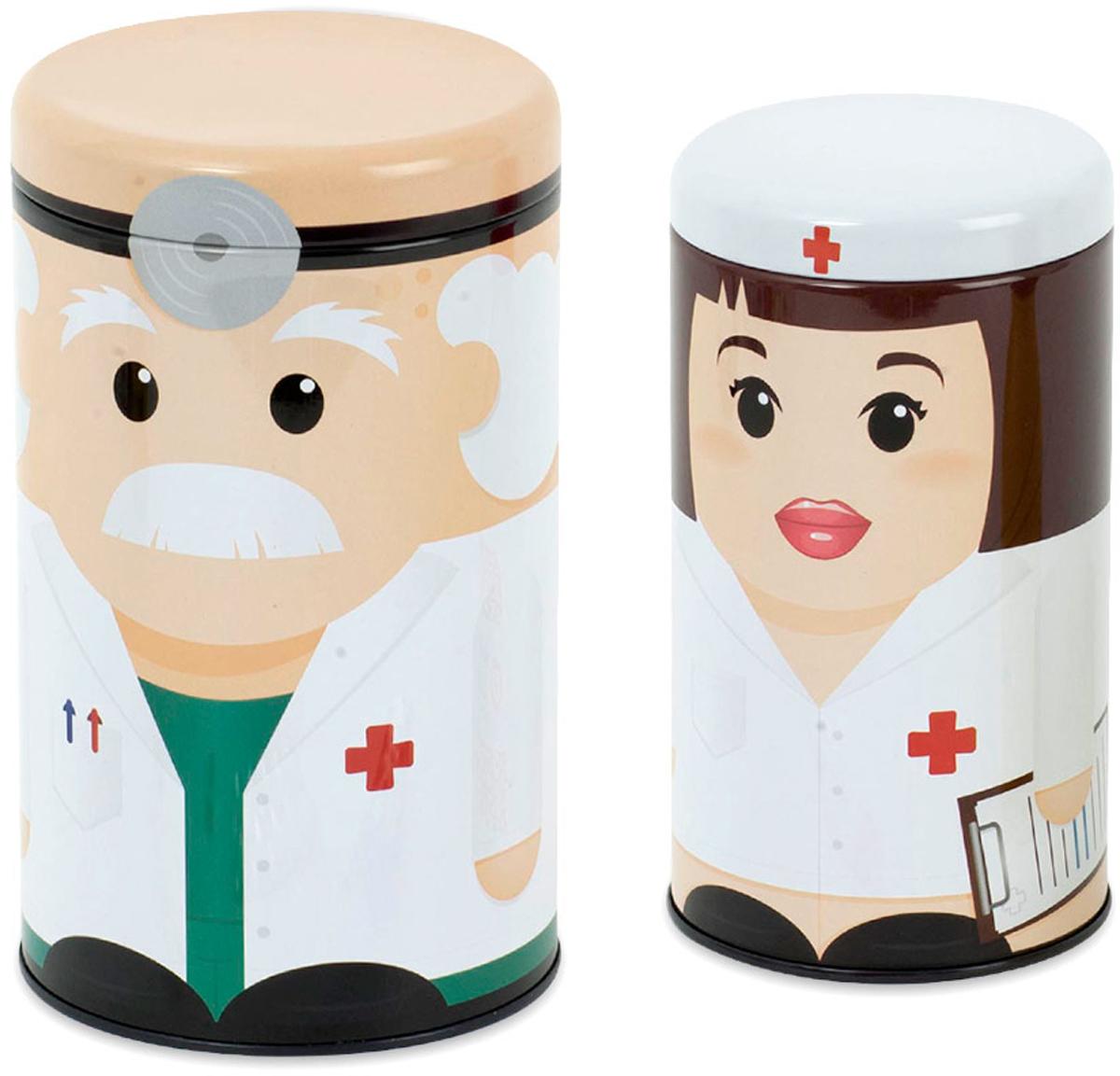 Контейнер для таблеток Balvi Dr. & Nurse, цвет: белый, 2 шт25699Скучные и непрактичные домашние аптечки изжили свое. Настало время оригинального решения для хранения лекарственных препаратов. Контейнеры для медикаментов Dr. & Nurse выполнены в виде добродушного доктора и заботливой медсестры. Оба футляра выполнены из прочного металла и плотно закрываются металлическими крышками. Емкости эффективно справятся с хранением лекарств любого вида и станут отличным украшением комнаты. Ваши друзья наверняка оценят столь полезный подарок и поблагодарят вас за заботу об их здоровье.-Контейнеры выполнены в виде врача и медсестры-Изготовлены из прочного металла-В комплекте сразу два бокса для хранения лекарств