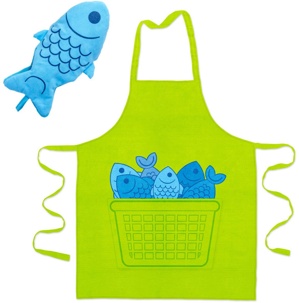 Комплект кухонный Balvi Blue Fin, цвет: зеленый, 2 предмета26152Комплект фартука и прихватки Blue Fin прекрасно впишется в интерьер вашей кухни. Красивый фартук салатового цвета и синяя прихватка в форме рыбки привнесут живость и разнообразие в ваш дом. Фартук с большим удобным карманом по центру, оформленным забавным принтом, подойдет всем, кто будет готовить на вашей кухне.- Оригинальный комплект выполнен из плотного текстиля.- Универсальность применения - подходит на любой размер.- Легко стирается и не теряет яркость красок.- Незаменимые приспособления для любой кухни.