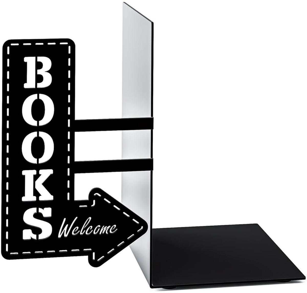 Держатель для книг Balvi BookShop, цвет: черный26531Великолепным подарком для любого книголюба станет держатель для книг BookShop. Если обычные полки кажутся безликими и неинтересными, тогда стоит обратить внимание на аксессуары из коллекции испанского бренда Balvi. Основным элементом декора является стилизованная стрелка с надписью Book, указывающая на место хранения. Основная цветовая гамма напоминает стиль разнообразных вывесок 20-30-х годов. Такое оформление подходит для хорошей литературы.- Необычный внешний вид, подчеркивающий ценность хороших книг.- Прочная металлическая конструкция, выдерживающая вес нескольких фолиантов.- Удобный держатель и простой способ эксплуатации.