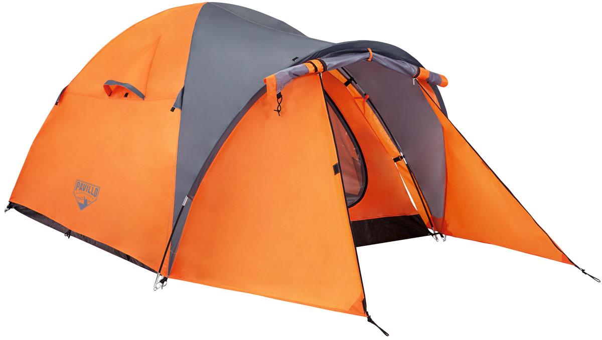 Bestway Палатка Navajo X2 Tent, 2-местнаяKOCAc6009LEDПрочная двухслойная палатка Bestway Navajo X2 Tent изготовлена из полиэстера 190Т с полиуретановым покрытием PU2000m. Дно палатки выполнено из полиэтилена плотностью 120 г/м2. Материал палатки обработан огнезащитным составом, швы водонепроницаемые. Специально разработанная обтекаемая форма палатки обеспечивает устойчивость в ветреную погоду. Передний коридор создает дополнительное пространство. Предусмотрена плотная дверь с антимоскитной сеткой и окна. Внутри палатки расположен небольшой карман для хранения мелочей. Палатка рассчитана на 2 взрослых. Легко чистится мягкой сухой губкой, естественная сушка. Размер: (70+200) х 165 х 115 см.
