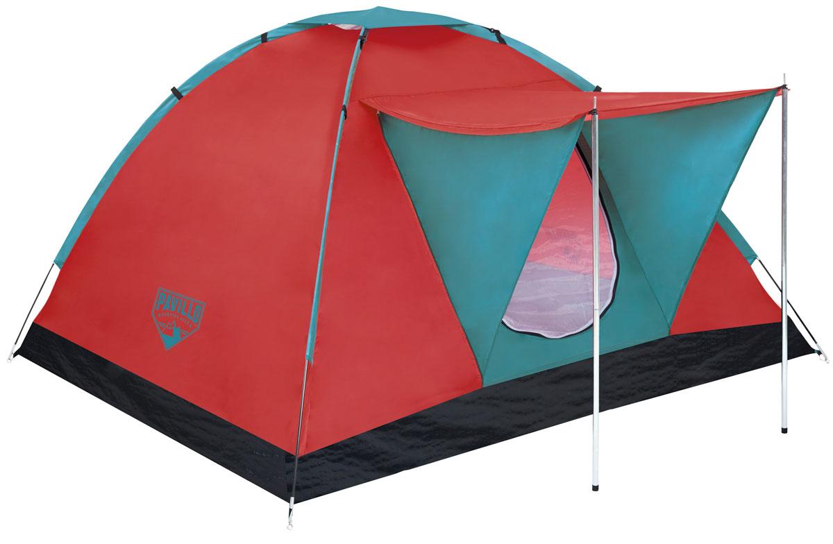 Bestway Палатка Range X3 Tent, 3-местнаяKOCAc6009LEDПрочная однослойная палатка Bestway Range X3 Tent изготовлена из полиэстера 190Т с полиуретановым покрытием PU600m. Дно палатки выполнено из полиэтилена плотностью 110 г/м2. Передний навес создает дополнительное пространство. Предусмотрена плотная дверь с антимоскитной сеткой и окна. Внутри палатки расположен небольшой карман для хранения мелочей. Палатка рассчитана на 3 взрослых. Легко чистится мягкой сухой губкой, естественная сушка. Размер: 210 х 210 х 120 см.